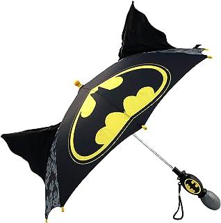 DC Comics Boys' Little Batman 'Squeeze and Flap' Fun Rainwear Umbrella, Black, Age 3-7