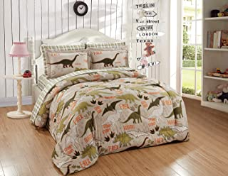Luxury Home Collection Kids/Teens/Boys 5 Piece Twin Size Comforter/Bed in A Bag Set with Sheets Dinosaur World Beige Sage ...
