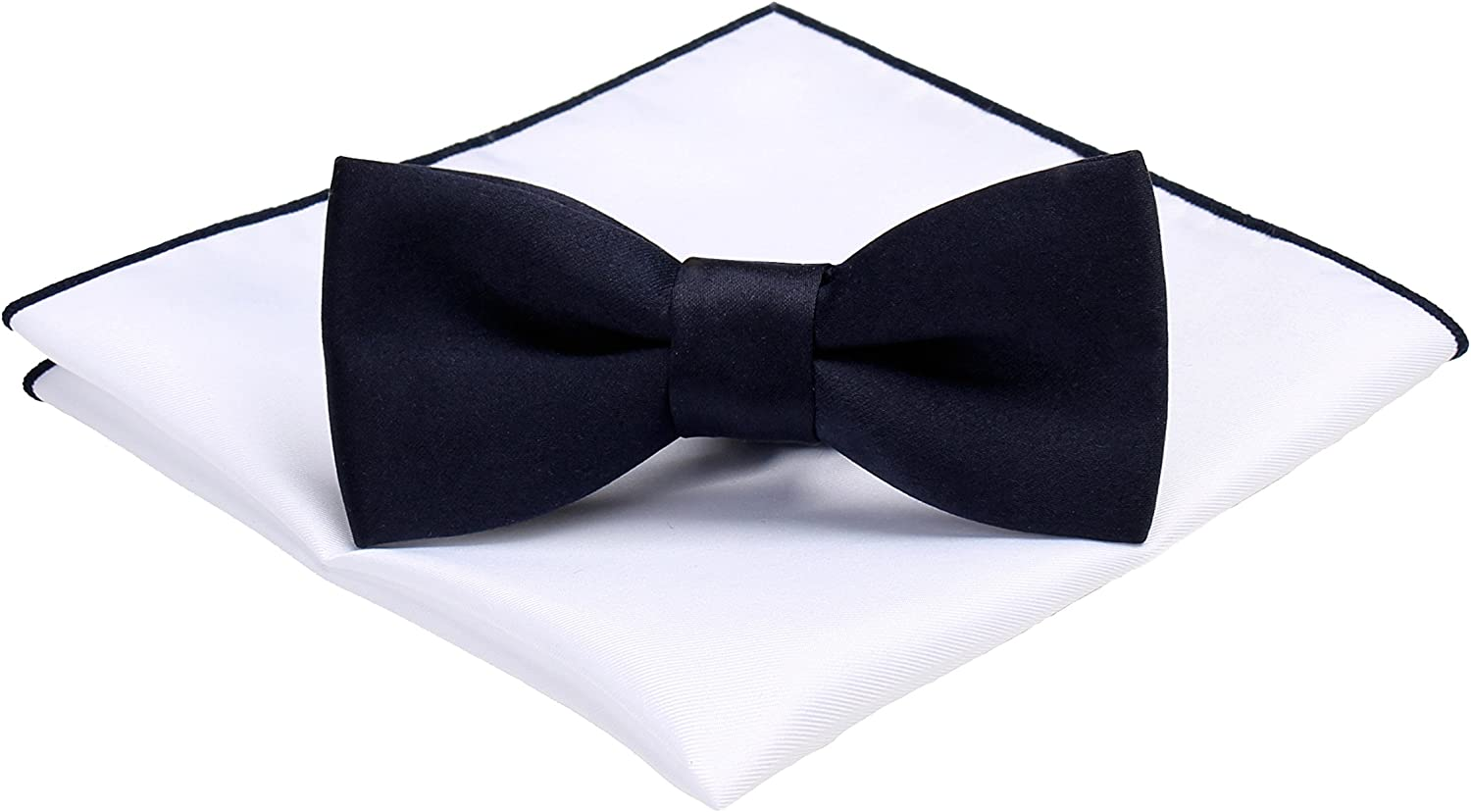 Mens Formal Tuxedo Bow Tie Solid Color Bowtie & Pocket Square Set by Levao