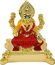 "Lakshmi Chowki Statue 2.3"" - Hindu Goddess, Gold Plated Resin Statue, Red & Yellow Color"