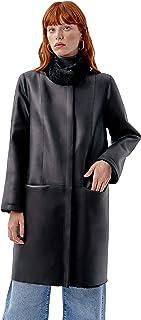 Miguel Marinero Abrigo de Mujer de Pelo Reversible Negro terminación Cuero