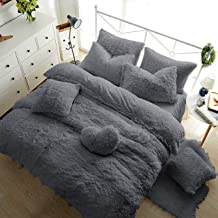 Teddy Fleece Duvet Cover with Pillow Case Thermal Warm Soft Cozy Bedding Bed Set (Silver Grey, Double Duvet Cover Inc P/Case)