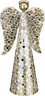 Regal Gift Champagne Mosaic Angel Figurine Centerpiece Mantel for Christmas Or Memorial Decoration 12.5 Inches Tall