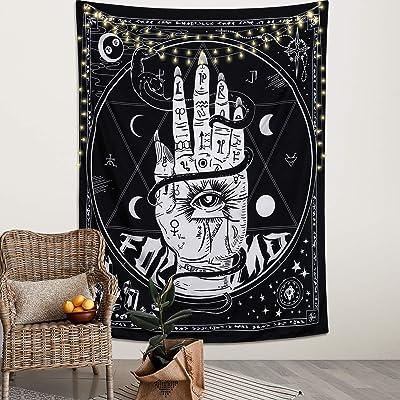 Dremisland Tarot Card Tapiz de estrella de la luna en blanco y negro para colgar en la pared Cartel especial arte de pared con diseño misterioso para decoración de pared para dormitorio (mano, M/130 x 150 cm)