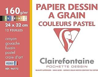 Clairefontaine - 96772 - 1 Pochette de 12 feuilles Couleurs Pastels Assorties - papier dessin - 24x32cm 160 g