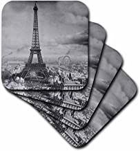 3dRose Eiffel Tower Paris France 1889 Black and White Coaster, Soft, Set of 4