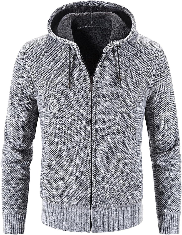 SUIQU Men's Hoodie Coat, Winter Casual Long Sleeve Thicken Sweatshirt Full Zip Cotton Sweater Cardigan Jacket with Hood
