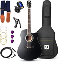 Guitar Acoustic Electric, Acoustic Guitar Cutaway 41 Inch Full Size Beginner Kit, Black