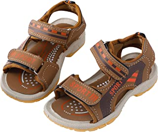 Hopscotch Baby Boys PU Velcro Open Toe Sandal in Tan Color