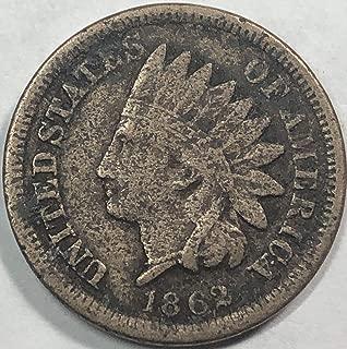 1862 P Indian Head Civil War Era Penny Cent Fine Detials