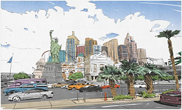 Ambesonne USA Doormat Hand Drawn Las Vegas City Nevada Street Sketch Buildings Of Liberty Cars Palms Decorative Polyester Floor Mat With Non Skid Backing 30 X 18 Multicolor