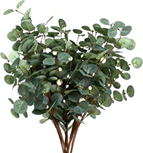 6 Pcs Greenery Stems, Silver Dollar Eucalyptus Leaves with White Berries Artificial Floral Greenery Stems for Home Party Wedding Christmas Decoration