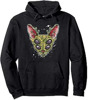 Funny Alien Cat Meme Illustration Gift for Alien Cat Lovers Pullover Hoodie