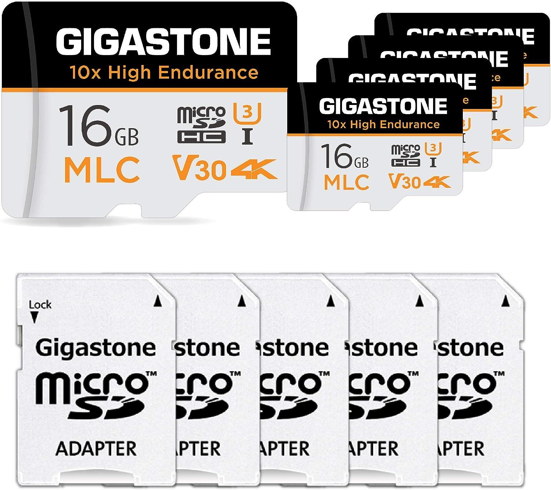 Gigastone 16GB 5-Pack MLC Micro SD Card, 10x High Endurance 4K Video Recording, Security Cam, Dash Cam, Surveillance Compatible 95MB/s, U3 C10