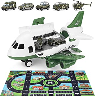 Action Figure Vehicles Playsets Military Cargo Airplane for Toddlers, INKPOT Military Car Toys Transport Airplane - Learning Play Mat ,7pcs Diecast Cars for Boys Age 1 2 3 4 5