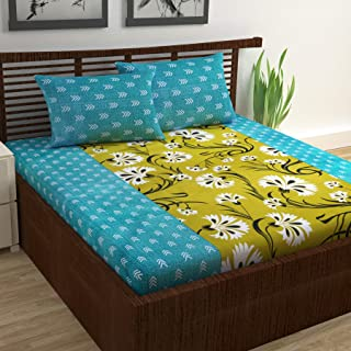 Divine Casa 100% Cotton 144 Tc Floral King Size Bedsheet with 2 Pillow Covers - Turquoise and Yellow