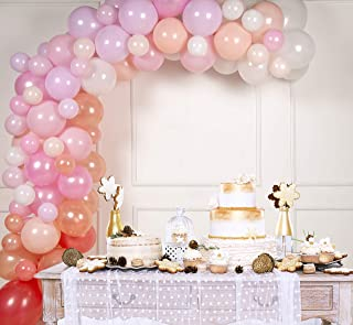 Balloon Arch & Garland Kit by Serene Selection Pink & Rose Gold for Wedding, Bridal Shower, Birthdays, Baby Showers, 100 Balloons, 16 ft Balloon Strips, Tying Tool, Pump, 100 Balloon Dot Glue