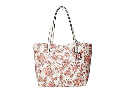 LAUREN Ralph Lauren Faux Pebble Grain Reversible Tote Medium (Porcelain Floral/Vanilla) Handbags