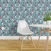 Spoonflower Pre-Pasted Removable Wallpaper, Vintage Mermaid Beach Decor Retro Pinup Mermaids Rockabilly Print, Water-Activated Wallpaper, 24in x 144in Roll
