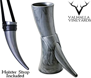 Viking Drinking Horn with stand – Medieval Inspired BPA Free Drinking Horn (16 oz) (Black)