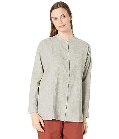 Eileen Fisher Organic Cotton Linen Ticking Stripe Mandarin Collar Shirt