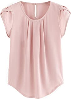 Women's Casual Round Neck Basic Pleated Top Cap Sleeve Curved Keyhole Back Blouse