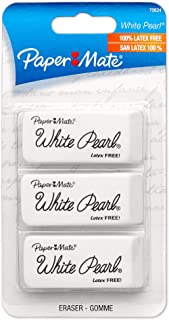 Paper Mate White Pearl Erasers, Large, 3 Count (70624)