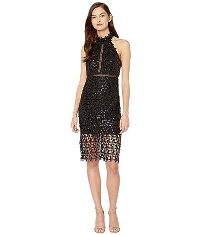 Bardot Sequin Leaf Dress (Black) Women