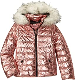 Lana Metallic Foil Puffer Jacket w/ Colored Faux Fur (Little Kids/Big Kids)