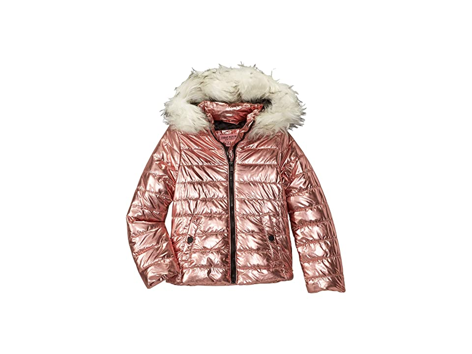 Urban Republic Kids Lana Metallic Foil Puffer Jacket w/ Colored Faux Fur (Little Kids/Big Kids) (Rose) Girl