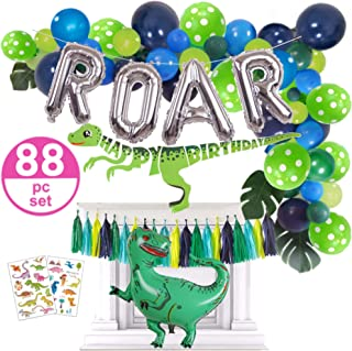 Dinosaur Party Supplies - 88pc Dinosaur Party Decorations Set for Boys Toddlers - Jungle Theme Balloon Garland, Blow Up T Rex & ROAR, Happy Birthday Banner