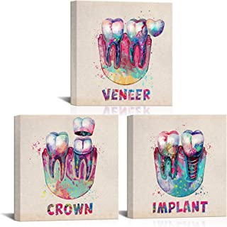 LoveHouse Medical Wall Art Colorful Dental Treatment Teeth Anatomy Stomatology Wall Decor Pictures Prints on Canvas Gift f...