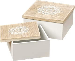 WHW Whole House Worlds Mandala Square Boxes, Set of 2, Stenciled Floral Details, Natural and White, Lift Off Lids, Wood, 1 Ft and Smaller, 9 1/2 and 7 1/2 Inches, Gift, Table or Display