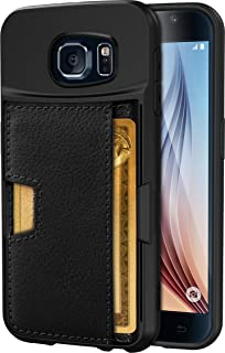 Smartish Galaxy S6 Wallet Case - Q Card Case for Samsung Galaxy S6 - Ultra Slim Protective Kickstand Credit Card Carrying Case (CM4) - Black Onyx