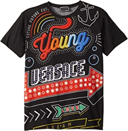 Versace Kids - Short Sleeve Neon Lights Logo Graphic T-Shirt (Big Kids)