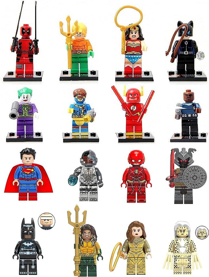 LINYOTEC 16 Stücke Minifiguren, Superhelden-Set mit Zubehör, Heroes Set with Accessories, Actionfiguren Bauklötze Kinder Spielzeug, Kids Gift 57