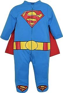 Warner Bros. Warner Bros. DC Comics Superman Neugeborenen Baby Jungen Onesie Jumpsuit Strampler Kostüm mit Footies & Cape, Blau 3-6 Monate