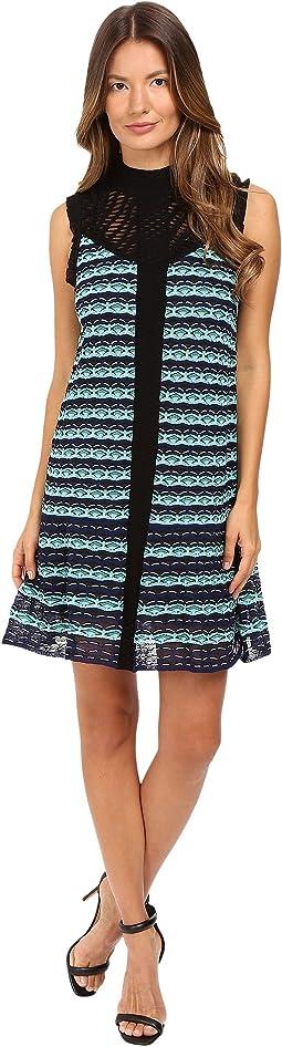 Topstitch Knit Sleeveless Dress w/ Drop Waist Ruffle
