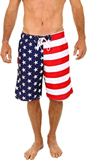 UZZI Mens Patriotic USA American Flag Swim Trunks 2XL