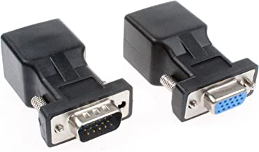 NOYITO VGA to RJ45 Adapter VGA Extender VGA 15 Pin to RJ45 Male Female Network Cable Connector Support 720P 1080I 1080P Analog HD Transmission (Pack of 2) (1 Male + 1 Female)