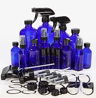 Vivaplex, Cobalt Blue, Glass Bottle Set, 16oz (x2), 8oz (x2) with Trigger Sprayers. 4oz (x4), 2oz (x4) with Fine Mist Sprayers, 10 ml Stainless steel Roller Bottles (x4) - Plus Accessories