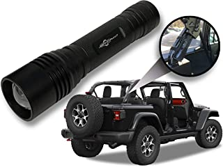Jeep Wrangler Accessories Black Colored LED Flashlight with Roll Bar Holster. Holster fits Jeep Jk rollbar also. Color match is for 2018-2019 Jeep JL Accessories, Ultra Bright, 1000 Lumens, Zoomable