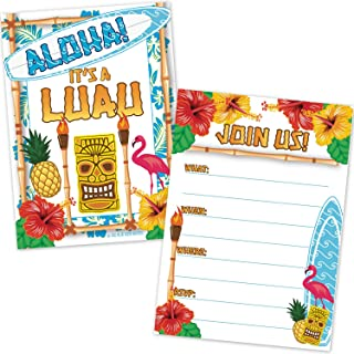 Luau Beach Party Invitations (20 Count with Envelopes) - Tropical Hawaiian Tiki Theme Birthday Party Invites - Kids or Adults Summer Cookout Party