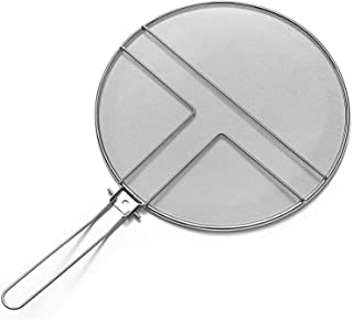 """Safety Face Shield Grease Splatter Screen for Frying Pan 13"""" - Stops 99% of Hot Oil Splash - Protects Skin from Burns - Splatter Guard for Cooking - Iron Skillet Lid Keeps Kitchen Clean"""
