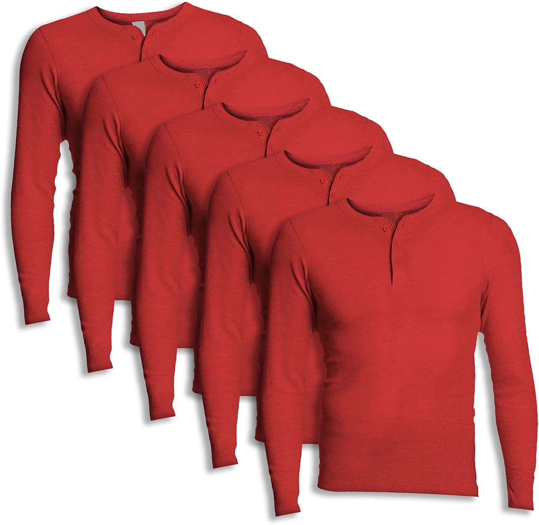 Hanes 25440 Men's X-Temp Thermal Longsleeve Henley Top Red (Pack of 5)