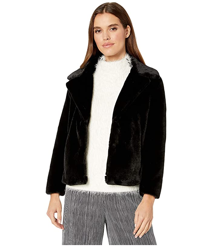 1.STATE  Faux Mink Collared Jacket (Rich Black) Womens Clothing