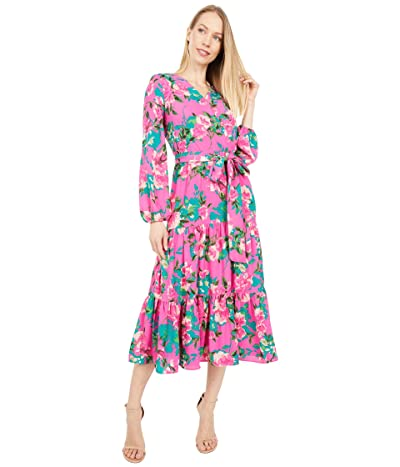 Tahari by ASL Printed Long Sleeve Surplus Mock Wrap Dress with Flounce Hem (Shocking Pink Ikat) Women