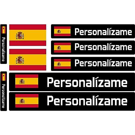 Pegatinas de Bandera con Nombre Personalizado para Bicicletas, Motos, Coches y patinetes eléctricos. 9 Etiquetas Adhesivas con Banderas Personalizadas. Vinilo Adhesivo Impermeable para vehículos