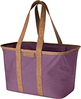 CleverMade 30L SnapBasket LUXE - Reusable Collapsible Durable Grocery Shopping Bag - Heavy Duty Large Structured Tote, Plum