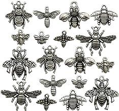 BULK 50 Bee Charms Antique Silver Tone SC6482